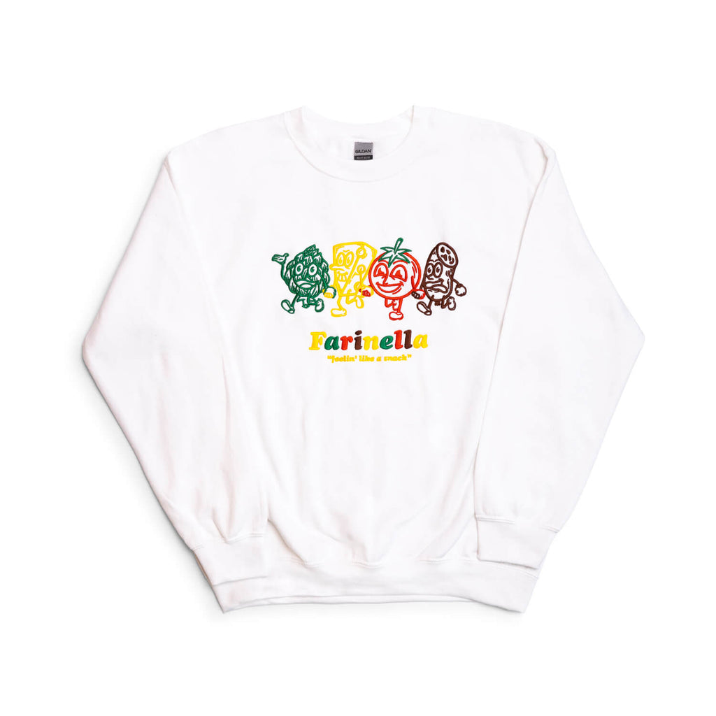 "Farinella ""Feelin' Like A Snack"" Crewneck Sweatshirt (White)"