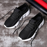 Men's Solid Cross Tied Round Toe Mesh Gym Running Shoes - RetroforReal