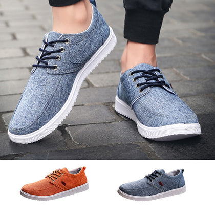 Men Round Toe Lace-up Flat Sneakers solid sewing adult canvas shoes New Arrivals Fashion - RetroforReal