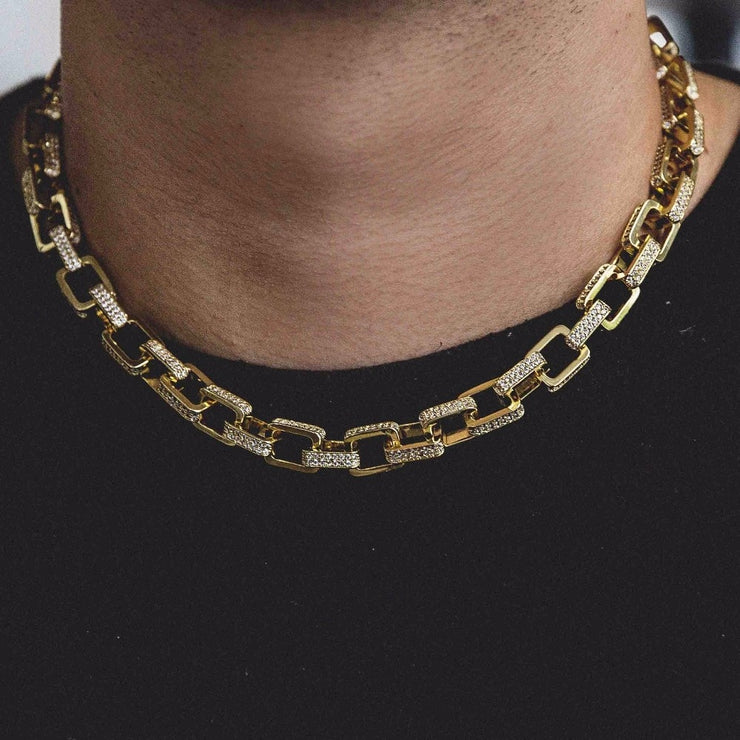 Iced Link Chain - 18k Gold