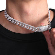 15MM Cuban Choker - White Gold