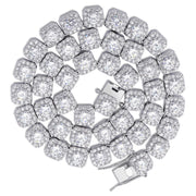 Cluster Tennis Chain - White Gold
