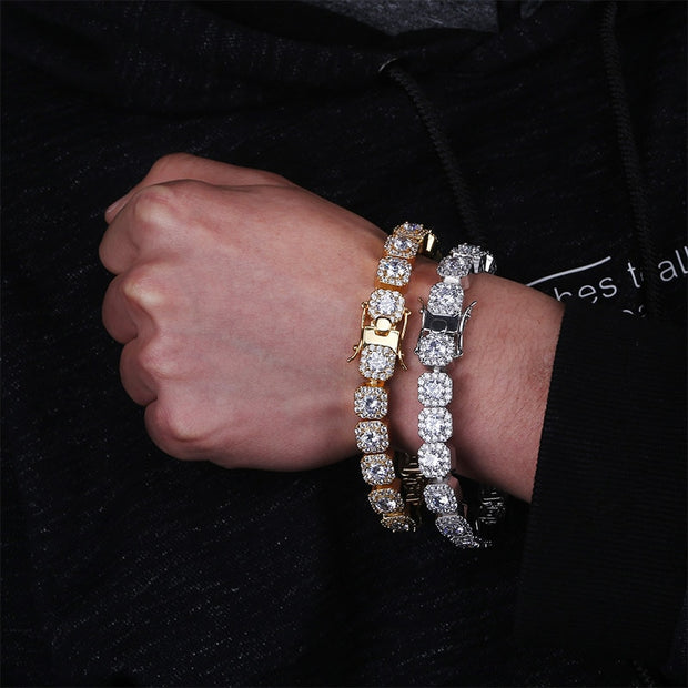 10mm Tennis Bracelet - Gold/Platinum plated