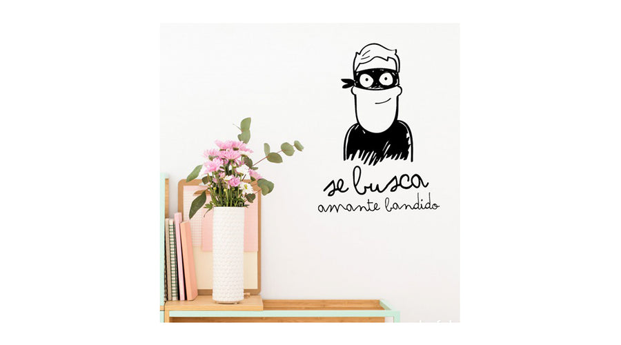 "Sticker decorativo ""Se busca amante bandido"""