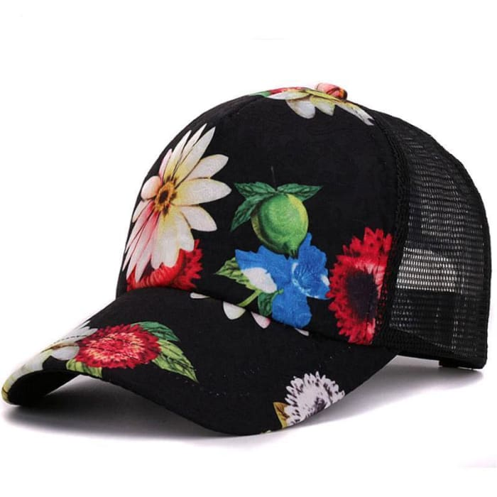 0e45aba911b ... Flower Baseball Caps - Black - Hat   Huntyourhat ...