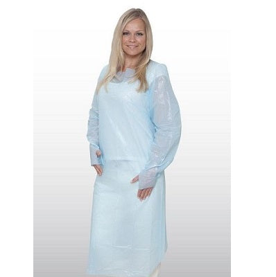 PPE:CPE Gown Non Sterile Impervious Gowns Blue