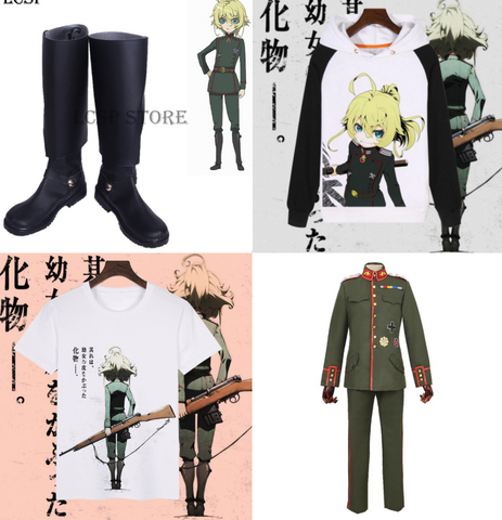 saga of tanya the evil merchandise shirts hoodies and cosplay
