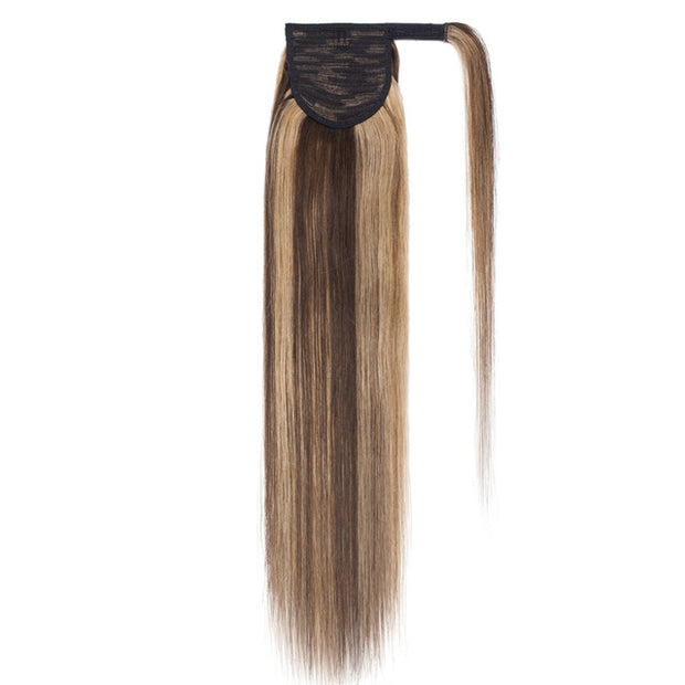 100% Human Hair Clip-in Ponytail Extensions: #4-27 Choc- Honey Highlights