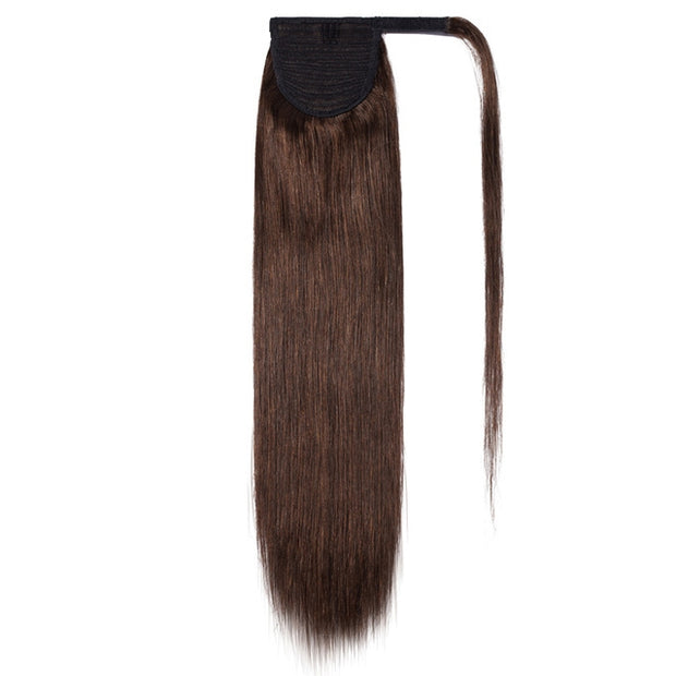 100% Human Hair Clip-in Ponytail Extensions: #004 Medium Brown