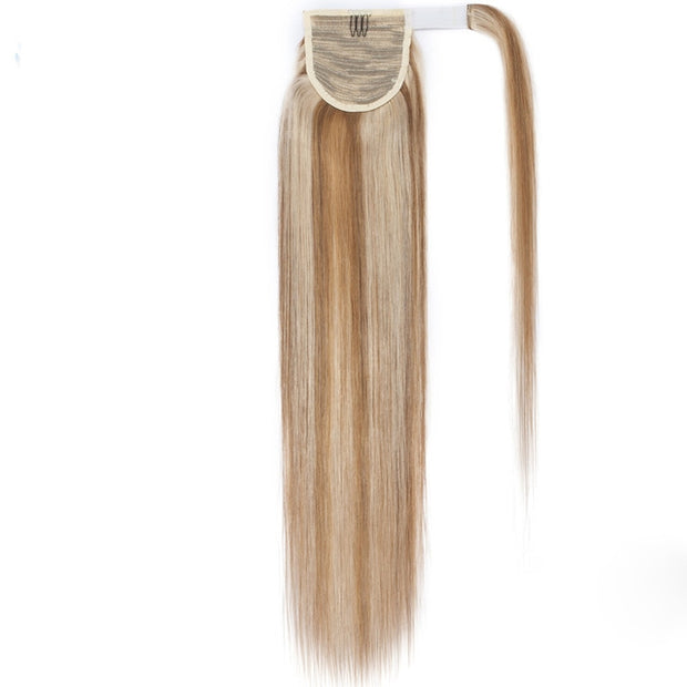 100% Human Hair Clip-in Ponytail Extensions: #18-613 Medium Ash- Sandy Highlights