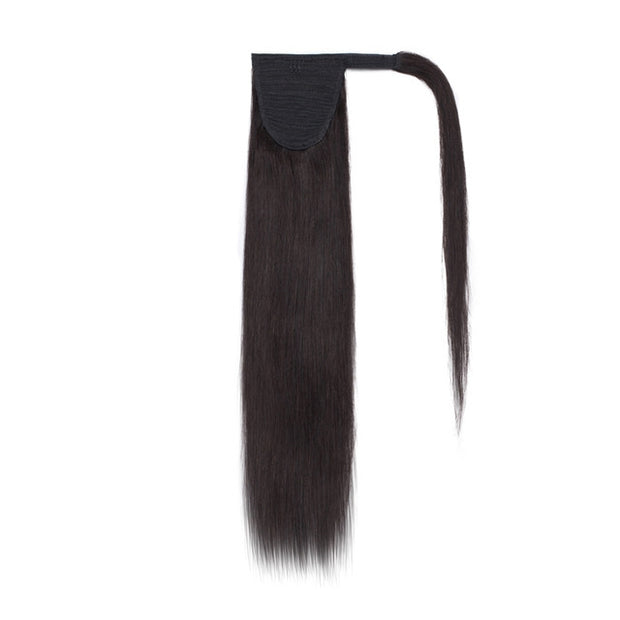 100% Human Hair Clip-in Ponytail Extensions: #001- Black Velvet