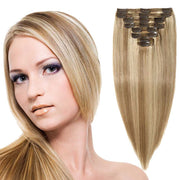100% Human Hair Clip- in Extensions - #18-613 Medium Ash- Sandy Highlights
