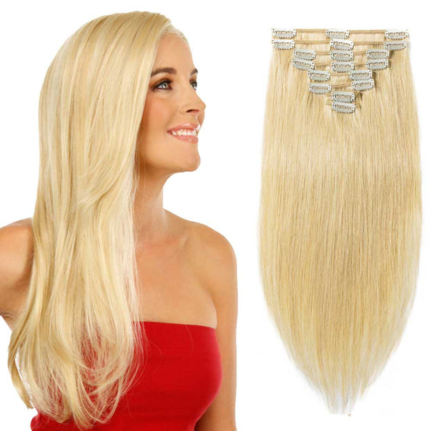 100% Human Hair Clip- in Extensions - #024 Natural Blonde