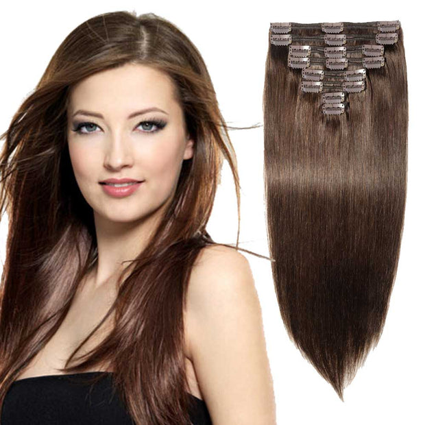 100% Human Hair Clip- in Extensions - #002 Dark Brown