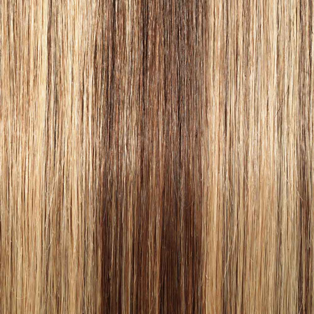 100% Human Hair Clip- in Extensions - #4-27 Choc- Honey Highlights