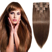 100% Human Hair Clip- in Extensions - #004 Medium Brown