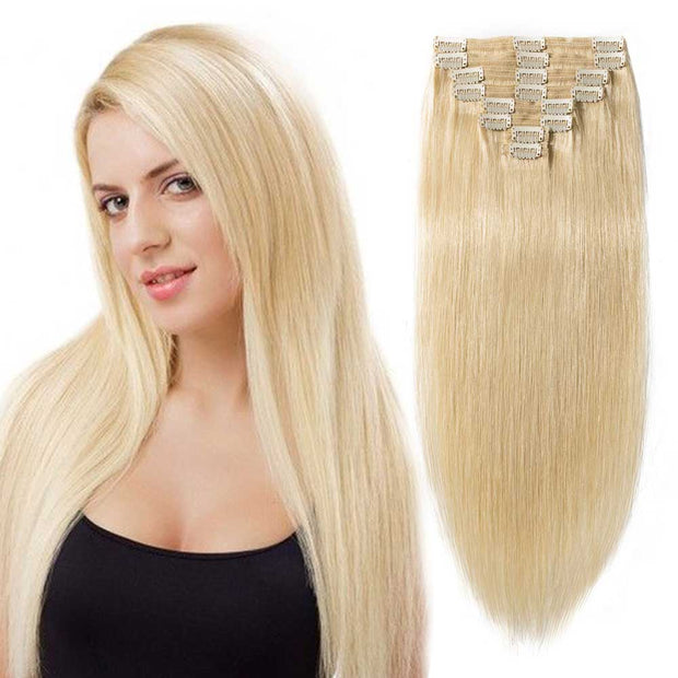 100% Human Hair Clip- in Extensions - #613 Sandy Blonde