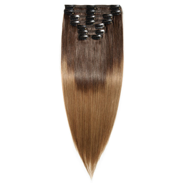 100% Human Hair Clip- in Extensions - #2-06 Mocha- Caramel Ombre