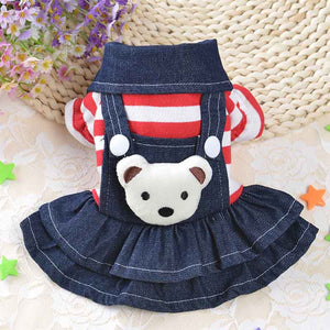 Warm Winter Dog Dress High Quality Denim Material With Stripped Bodice