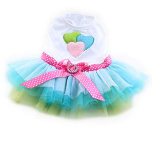 Princess Pink and Blue Dog Dress With Tulle Skirt and Heart Applique On Bodice