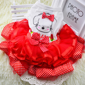 Beautiful ruffles and tulle dress with dog applique on back