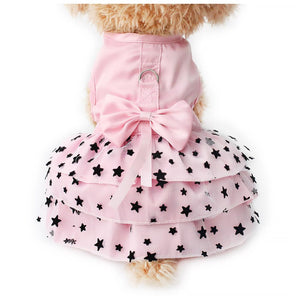 Black Star Pattern Princess Dog Dress