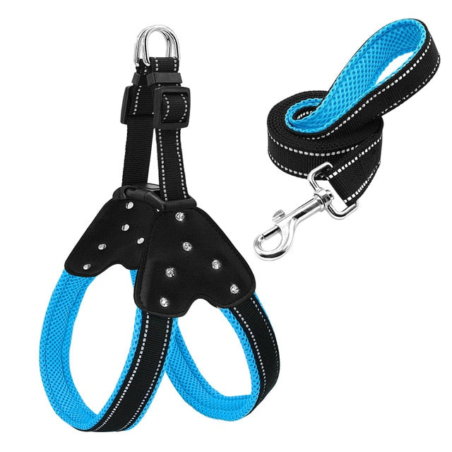 Reflective Nylon Rhinestone Step-In Dog Harnesses With Matching Leash