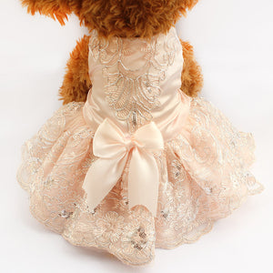 Elegant Sequins And Lace Embroidered Dog Dress