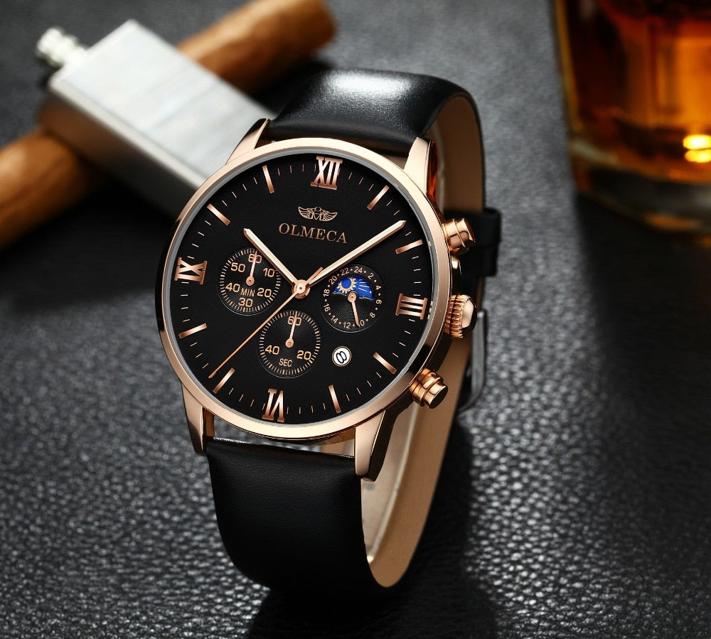 Luxury Business Leather Watch - LIONPEAKS