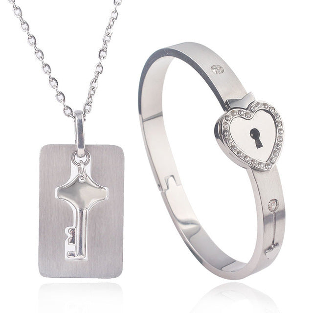 Stainless Steel Love Heart Lock Bracelet