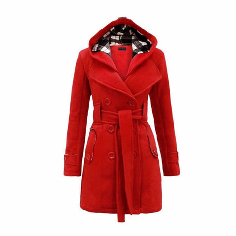 Long Wool Red Outerwear Jacket - LIONPEAKS