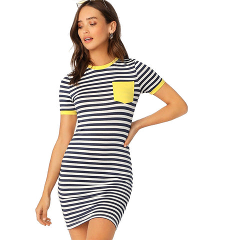 Pocket Striped Casual Dress - LIONPEAKS