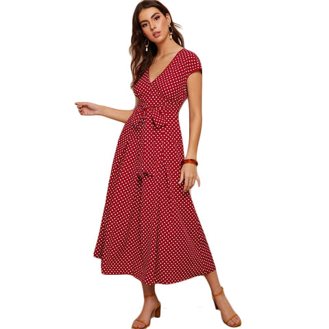 Red Polka-dot Print Long Dress - LIONPEAKS