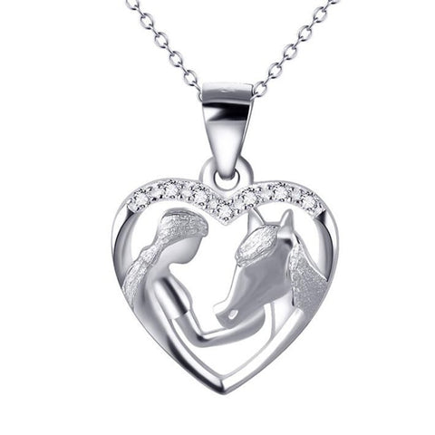 Sterling Silver Girl Feeding Horse Heart Pendant Necklace - LIONPEAKS