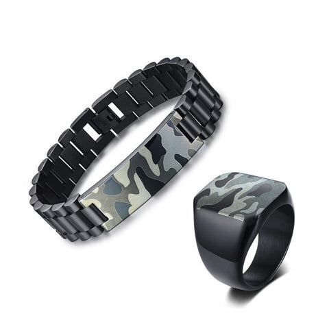 Stainless Steel Army Camouflage Jewelry Set - LIONPEAKS