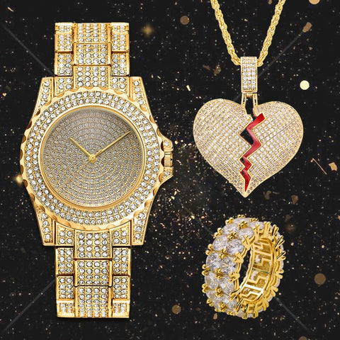 Lureen Hip Hop Iced Out Quartz Watch Broken Heart Pendant - LIONPEAKS