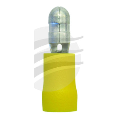 PKT 10 MALE BULLET TERMINAL 5mm INSUL PVC COPPER SLEEVE yellow