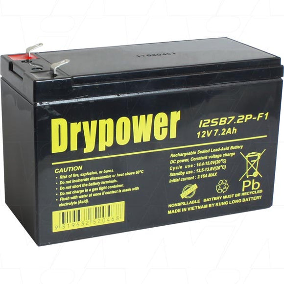 12SB7.2P-F1 Drypower 12V 7.2Ah Sealed Lead Acid Battery replaces
