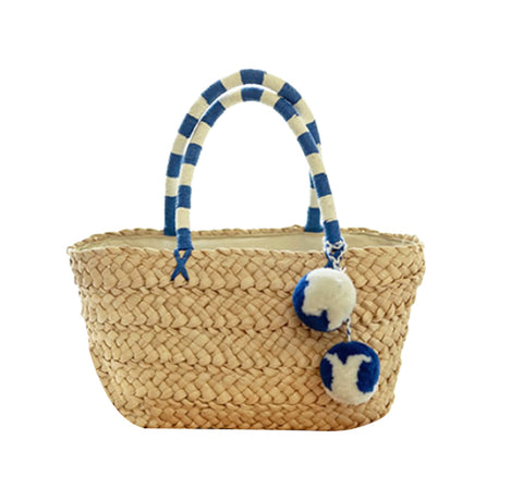 """St Tropez"" Handwoven Natural Straw Striped Mini Pom Pom Tote - Bon Voyage"