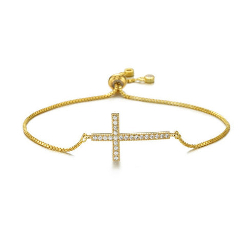 """Blessed"" Gold Cross Charm Bracelet - Bon Voyage"