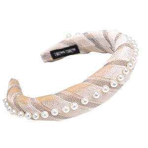 Brooklyn Cream Velvet and Pearl Headband