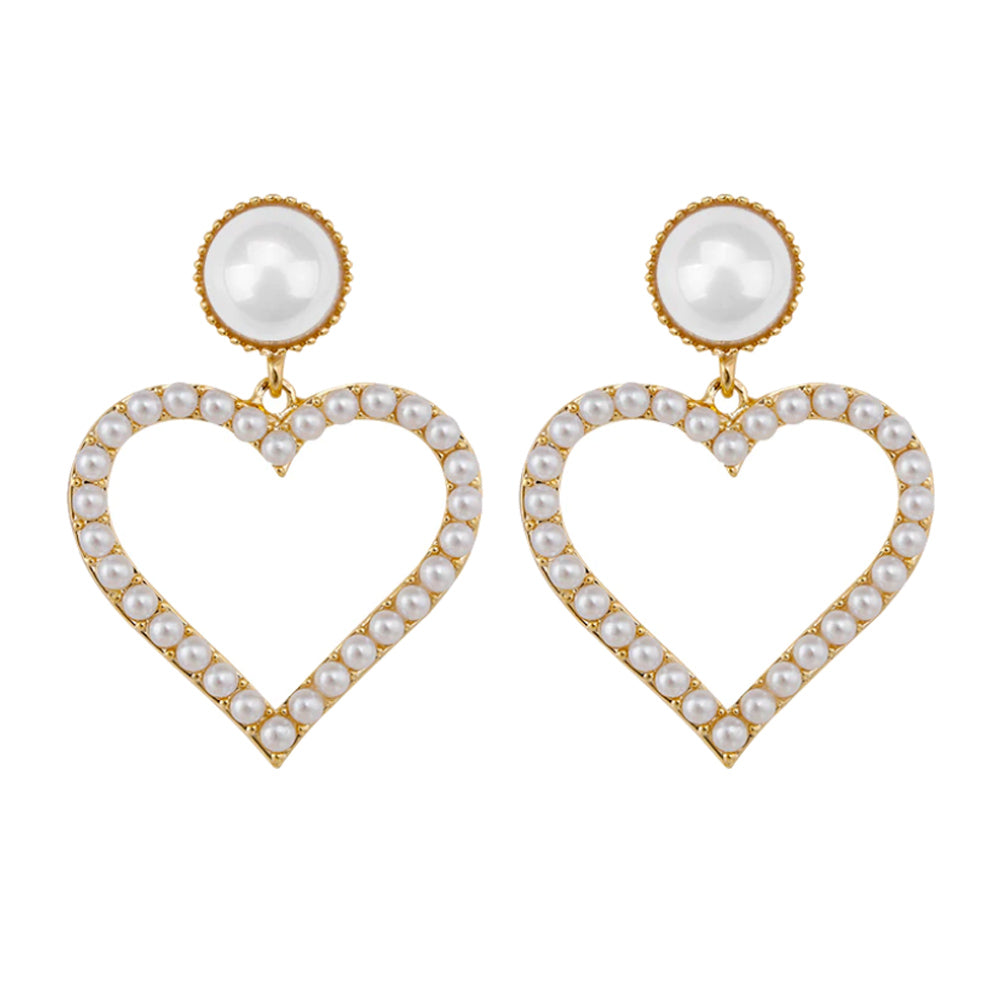 Dove Love Heart Pearl Earrings