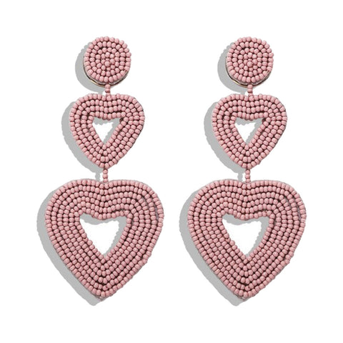Hanna Pink Beaded Heart Earrings