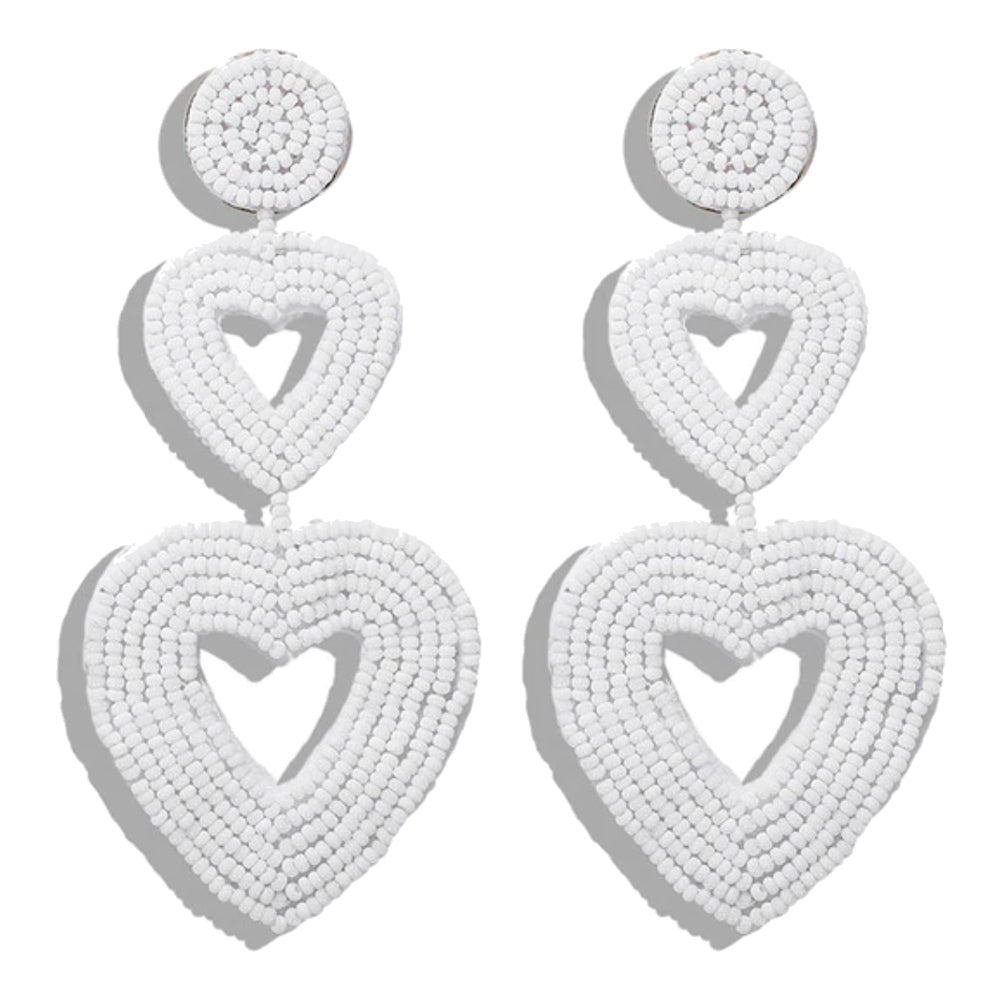 Hanna White Beaded Heart Earrings