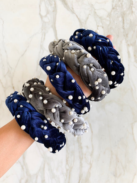 Paris Navy Velvet and Pearl Headband