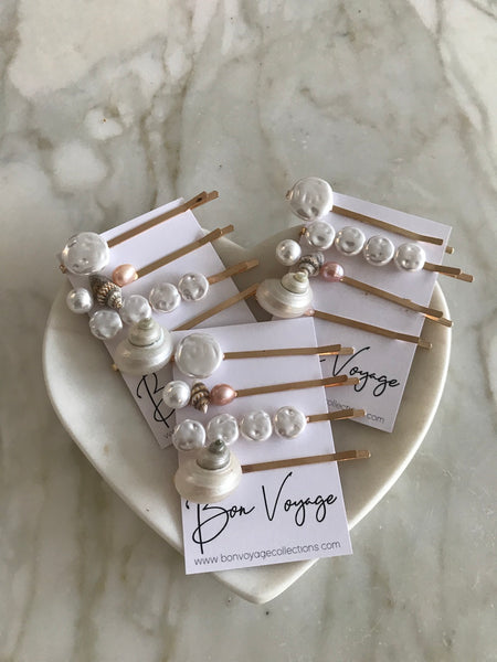 Hamilton Pearl and Shell Hair Slide Set