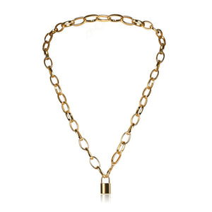 Jet Gold Lock Chain Necklace