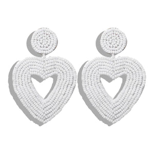 Joy White Beaded Heart Earrings