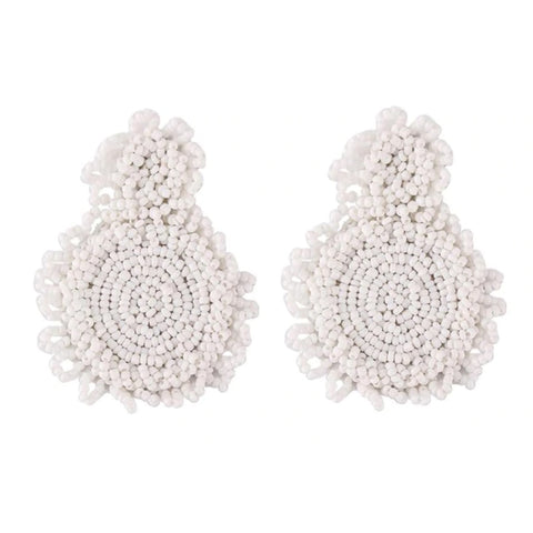 King White Beaded Earrings