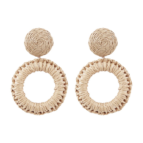 Lila Rattan Earrings